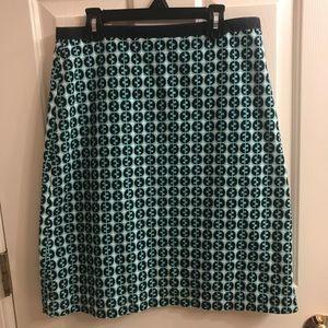 Boden printed cotton knee skirt